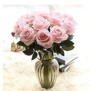 CUSODI Artificial & Dried Flowers | 10pcs/Lots Floral Latex Real Touch Rose Artificial Flowers Silk Flowers Rose Wedding Bouquet Home Decor Party Flowers Bridesmaid 36
