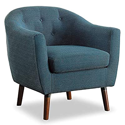 Homelegance Fabric Barrel Chair, Blue - Blue fabric upholstered barrel chair creates a Retro look Features button tufted back and brown exposed legs; High-density foam seat cushion Expert wood construction supports up to 300 lbs. - living-room-furniture, living-room, accent-chairs - 51zzVDw1FHL. SS400  -