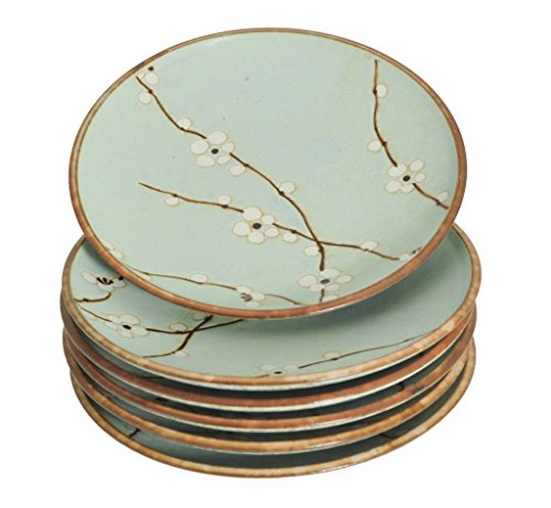 M.V. Trading MQ275BPS4V Japanese Cherry Blossom Round Salad Plates Set, Light Blue, Set of 6 Plates, 7-5/8 (DIA.) x 1-1/8 (H) ()