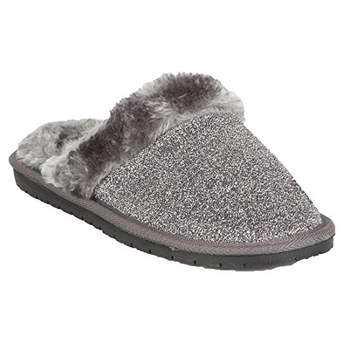 Foam Hounds Silver Slippers Frosted Scuffs Women's Memory Ytrptq