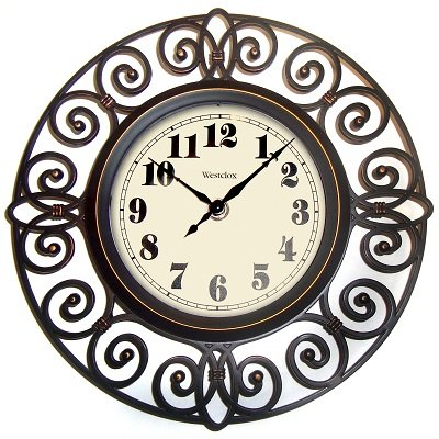 - Westclox 32021 Round Filigree Rubbed Clock, 12-Inch, Bronze