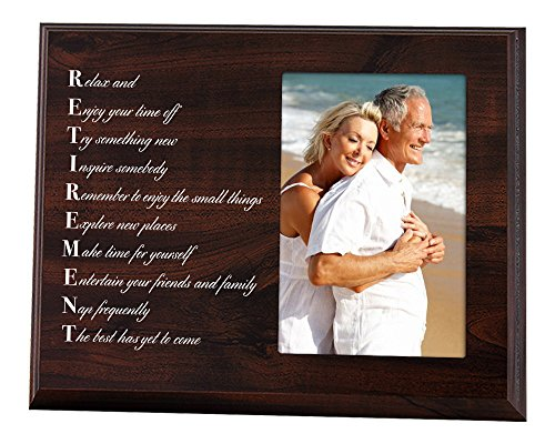Elegant Signs Retirement Gift for Dad or Mom - Wood Plaque Picture Frame with Inspirational Retired Poem (Retirement Poems)