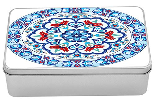 "Ambesonne Antique Metal Box, Ottoman Turkish Style Art with Tulip Period Ceramic Floral Elements European Print, Multi-Purpose Rectangular Tin Box Container with Lid, 7.2"" X 4.7"" X 2.2"", Multicolor from Ambesonne"