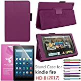 Amazon Fire HD 8'' 2017 Case, EpicGadget(TM) Auto Sleep/Wake 7th Gen Fire HD 8 PU Leather Folding Folio Case with Built in Stand For Fire HD 8 inch (2017 Release) + 1 Screen Protector + 1 Pen (Purple)