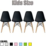 2xhome - Set of Four (4) - Black - Kids Size Eames Side Chairs Eames Chairs Black Seat Natural Wood Wooden Legs Eiffel Childrens Room Chairs No Arm Arms Armless Molded Plastic Seat Dowel Leg