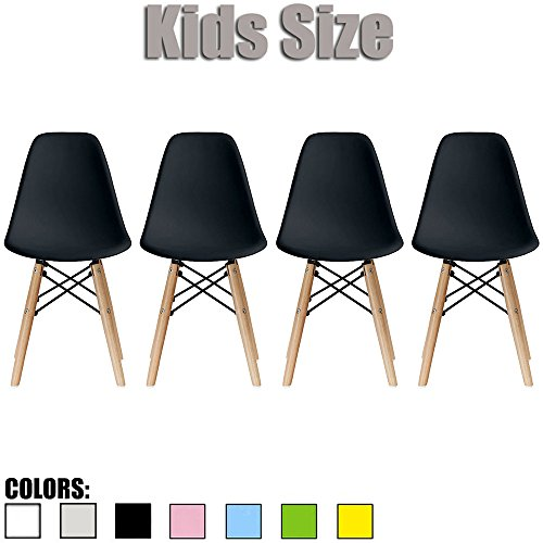 2xhome - Set of Four (4) - Black - Kids Size Side Chairs Chairs Black Seat Natural Wood Wooden Legs Eiffel Childrens Room Chairs No Arm Arms Armless Molded Plastic Seat Dowel Leg (Hotel For Table Chair Set)