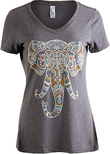 Elephant Aesthetic | Ornate Stylized Line Art Yoga V-Neck T-Shirt for Women-(Vneck,2XL)