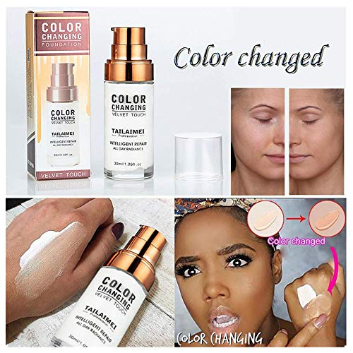 TTbuy 2019 Concealer Cover,Flawless Color Changing Foundation Makeup Base Nude Face Moisturizing Liquid Cover Concealer Brighten for Women and Girls (White)