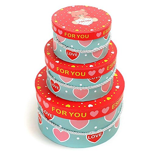 Hestian 1 Set of 3 Nested Boxes with Lids- Round & Bear Pattern Design,gift Boxes/holiday Party Supplies/christmas Gift Wrap