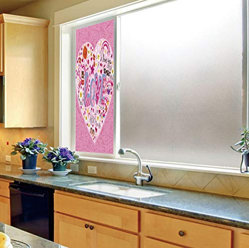 YOLIYANA The Visual Effect of Textured Glass and Stained Glass,Doodle,is Good for Long Year Under The Sunshine,I Love You Sugar Giant Heart with Big,24''x70''