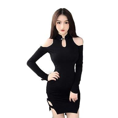5ea116aac757 ADLISA Women's Sexy Halter Long Sleeve Off Shoulder Bodycon Party Club  Qipao Midi Dress Party Dresses