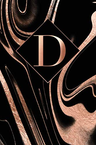 - D: Letter D Journal, Rose Gold Swirls On Black, Personalized Notebook Monogram Initial, 6 x 9