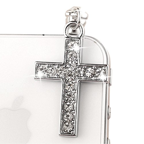 IP481-B Sliver Clear Crystal Cross Anti Dust Plug Cover Charm for iPhone Android 3.5mm