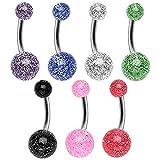 Titanium Navel Ring with UV Coated Glitter Balls All 7