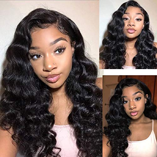 BLY Loose Deep Wave Lace Front Wigs Human Hair with Baby Hair Brazilian Virgin Hair 18 Inch for Black Women 150% Density Pre Plucked 13x4 Swiss Lace Size Part Natural Looking Jet Black Color
