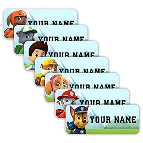 PAW Patrol Theme Original Personalized Peel and Stick Waterproof Custom  Name Tag Labels for Adults, Kids, Toddlers, and Babies – Use for Office,