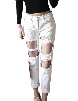 Pantalones Jeans Mujer Rasgado Suelto Agujero Vaqueros Azul Cintura Alta Jeans  Rectos Blanco 36EU 93775c41fb96