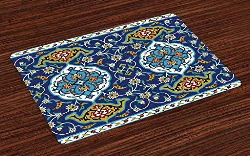 Ambesonne Moroccan Place Mats Set of 4, Authentic Oriental Motif with Vintage Byzantine Style Tile Effects Artwork, Washable Placemats for Dining Room Kitchen Table Decoration, Mustard Royal Blue