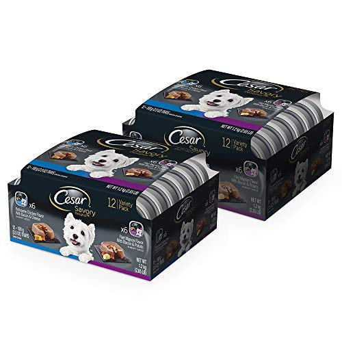 CESAR SAVORY DELIGHTS Wet Dog Food Rotisserie Chicken & Filet Mignon Variety Pack, (Pack of 24) 3.5 oz. Trays