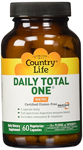 Country Life Daily Total One Maxi-Sorb Multi-Vitamins, Iron Free, 60-Vegetarian Capsules (Iron Free 60 Capsules)