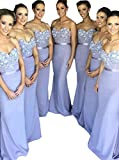 Half Flower Bridal Sweetheart Sleeveless Prom Gown Backless Mermaid Bridesmaid Dress Style 6 Purple US4