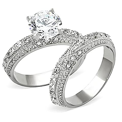 3.25 Ct Round Cut CZ Stainless Steel Vintage Wedding Ring Set Women's Size 5-11 (5) (Vintage Ring Size 5)