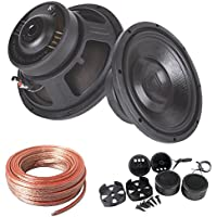 Audiotek Package Deal : Pair of K710 1000 Watt 10 Professional Car Subwoofer 4 OHM + AB-204TW 300W Tweeter + 25 Feet 12 Gauge Cables