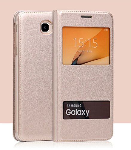 super popular 5cd5f 20063 MOCA PU Leather S-View Window (Ultra Thin) Flip Case Flip Cover For SamSung  Galaxy J7 Prime , Samsung Galaxy On Nxt , SamSung Galaxy On7 2016,Gold
