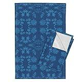 Roostery Solar Tea Towels Solar Print Flowers by Weavingmajor Set of 2 Linen Cotton Tea Towels
