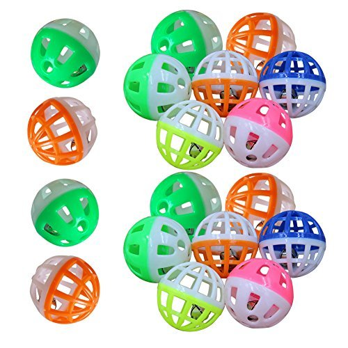 MMdex 18-Pieces Pet Cat Kitten Play Balls With Jingle Bell Pounce Chase Rattle Toy ()