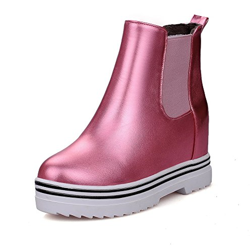 Top Closed Round Soft On Pull High Allhqfashion Heels Boots Toe Pink Low Women's Material SqxCwPY