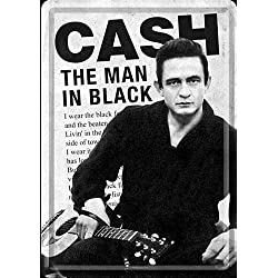 "Johnny Cash ""The Man In Black"" mini- sign / metal postcard (na)"
