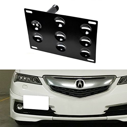 iJDMTOY JDM Style Front Bumper Tow Hole Adapter License Plate Mounting Bracket For 2009-2014 Acura TL, 2015-up Acura TLX - Spec Mounting Plate
