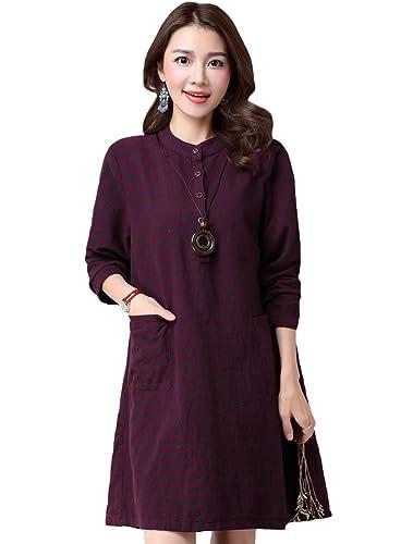MatchLife - Camisas - vestido - Cuello redondo - Manga Larga - para mujer