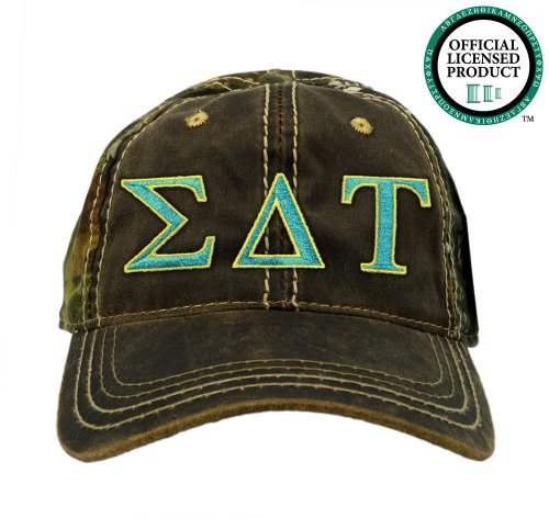 Sigma Delta Tau (SDT) Embroidered Camo Baseball Hat, Various Colors