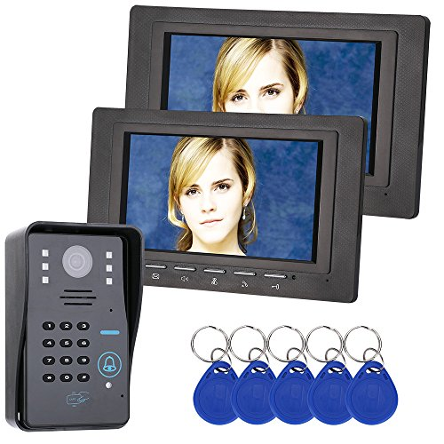 GAMWATER 7 inch 2 Monitor RFID Password Video Door Phone Intercom Doorbell With IR Camera 1000 TV Line Access Control System ()