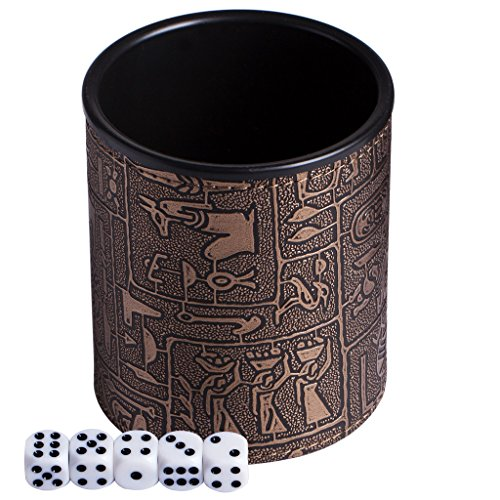 Magic Vosom Leatherette Dice Cup with 5 Dice for Karaoke Bar Saloon and Party Bronze