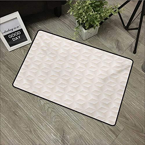 Bathroom Anti-Slip Door mat W31 x L47 INCH Ivory,Geometric Continuous Diagonal Diamond Shaped Abstract Monochrome Digital Stylish Pattern,Cream Easy to Clean, Easy to fold,Non-Slip Door Mat Carpet