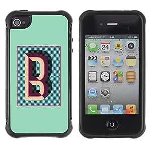 Híbridos estuche rígido plástico de protección con soporte para el Apple iPhone 4 / 4S - B letter teal calligraphy initials alphabet
