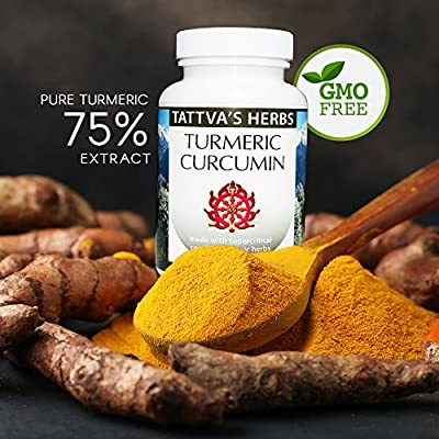 Tattva Herbs Turmeric Curcumin Extract – 100% All Natural Non-GMO Vegan Organic Full Spectrum Extract to Reduce Inflammation and Improve Overall Health 500 mg. 240 Vcaps (2 Pack - 120 ct./ea)