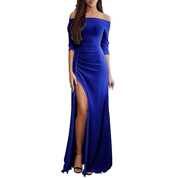c3dd7ebd6 Gusspower Vestido de Noche Mujer Elegante con Lentejuelas Brillantes  Vestido Mangas largas Hombro sin Tirantes Falda Largo Cintura Alta para  Fiesta ...