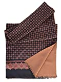 Elizabetta Men's Italian Silk Scarf - Black & Camel Print - Soft Wool Lined