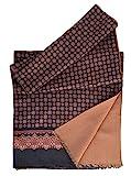 Elizabetta Men's Italian Silk Scarf - Black & Camel Print - Soft Wool Lined