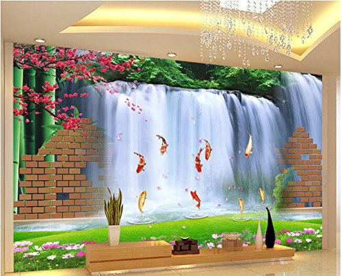 XLI-You 3D Wallpaper Custom Photo 3D Wallpaper Mural Wall Sticker 3D Brick Wall with Water Fish Painting 3D Wall Room Murals Wallpaper Sticker Mural 350cmX270cm