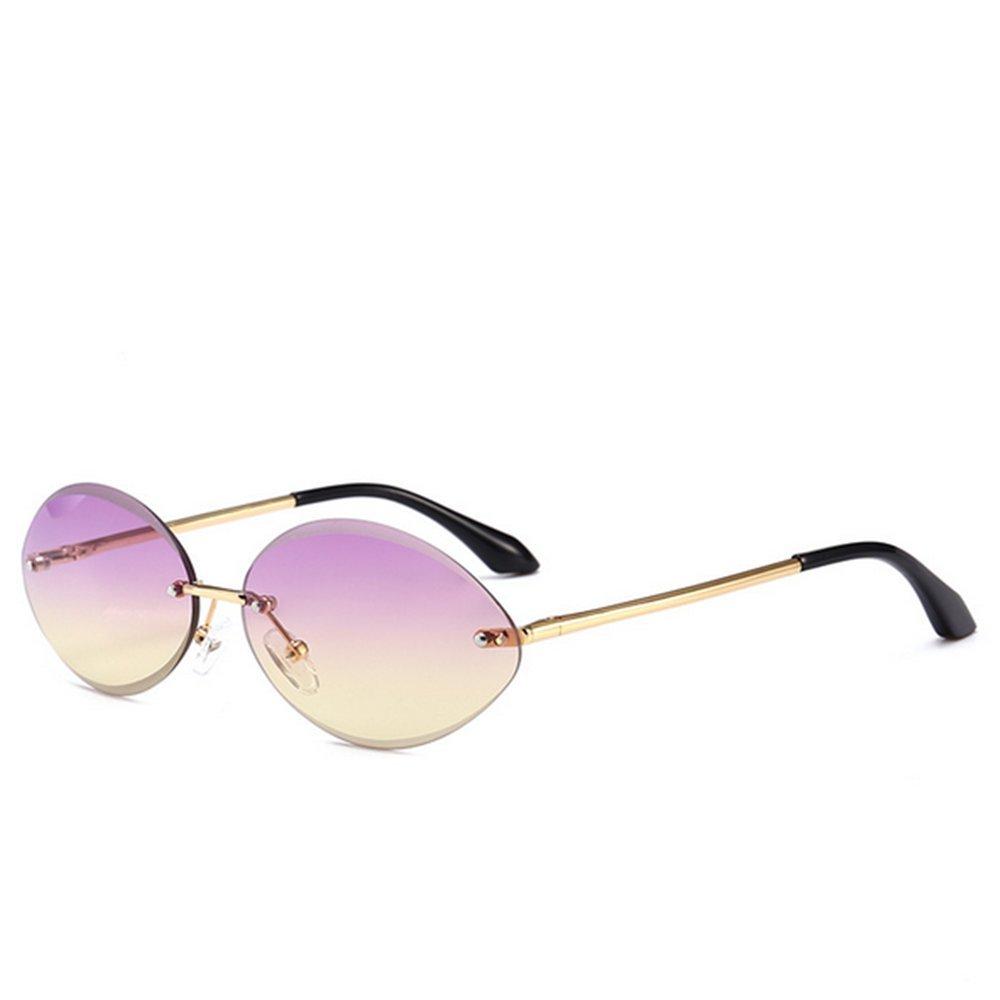 Frameless Small Oval Narrow Design Sunglasses for Women Men UV Predection for Driving Vacation Summer Beach (color   C3)