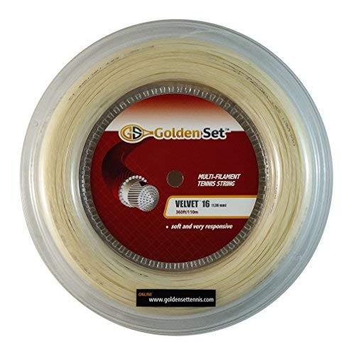 Golden Set Velvet 16g (1.35mm), Reel (360ft/110m), Natural, Multi-Filament Tennis String