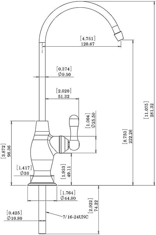 Avanti RF906A-CP Air Gap RO Faucet dimensions