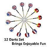 ihoven Dart Board with 12 Brass Darts Set, 18