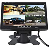 Camecho 7 inch Split Quad Monitor 4 Channel Video Input Full HD Color Image Car Backup Camera System & Home Surveillance Security