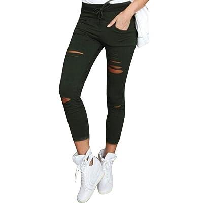 Adelina Pantalones Vaqueros Flacos De Las Mujeres Pantalones Rotos Ropa Cintura Alta Cordón Elástico Pantalones De Lápiz De Algodón Delgados Pantalones Recortados (Color : Armygreen, Size : 4XL): Ropa y accesorios